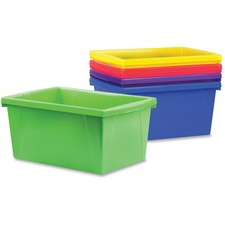 "Storex 5.5 Gallon Storage Bin - 1 Compartment(s) - 8.3"" Height x 11.9"" Width x 16.8"" Depth - Assorted - Plastic - 1 Each - TAA Compliant"