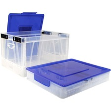 Storex Collapsible Crate with Lid, Clear/Blue - Lid Lock Closure - Clear, Blue - For Letter, Grocery, File - Recycled - 1 Each