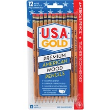 BDUDFB65 - The Board Dudes USA Gold Natural Wood No. 2 Pencils