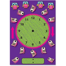 ASH 77008 Ashley Prod. Birds/Owls Clock Bulletin Board Set ASH77008