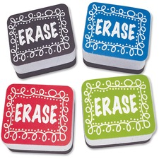 ASH 78002 Ashley Prod. Chalk Design Mini Whiteboard Erasers ASH78002