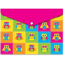 ASH 90602 Ashley Prod. Owls Design Snap Poly Folders ASH90602