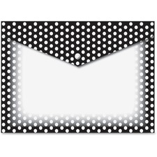 ASH 90605 Ashley Prod. B/W Dots Design Snap Poly Folders ASH90605