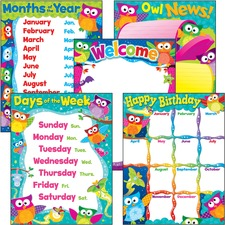 TEP 38959 Trend PreK-3 Owl-Stars Basic Learning Charts Combo TEP38959