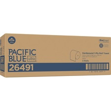 "Pacific Blue Ultra 8Ó High-Capacity Recycled Paper Towel Roll by GP PRO - 7.87"" x 1150 ft - White - Flexible - 3 Rolls Per Carton - 3 / Carton"
