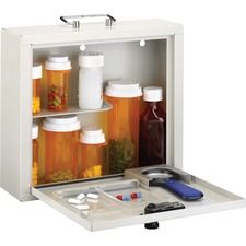 """MMF Deluxe Steel Medication Case - Combination, Programmable Lock - for Home, Office - Overall Size 9.5"""" x 10.8"""" x 3.8"""" - Platinum - Steel"""