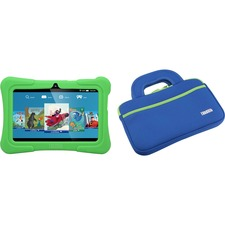 "Tablet Express Dragon Touch Y88X Plus Kids 7"" Tablet Disney Edition, Kidoz Pre-Installed, Android 5.1, Green with Case Bag in Blue"
