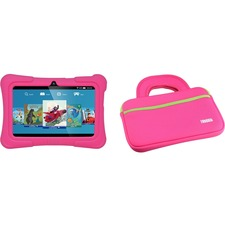 "Tablet Express Dragon Touch Y88X Plus Kids 7"" Tablet Disney Edition, Kidoz Pre-Installed, Android 5.1, Pink with Case Bag in Pink"