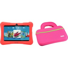 "Tablet Express Dragon Touch Y88X Plus Kids 7"" Tablet Disney Edition, Kidoz Pre-Installed, Android 5.1, Red with Case Bag in Pink"