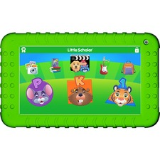 "School Zone Little Scholar 8"" Tablet with Green Bumper, Headphones, and Socrates Plush Toy"