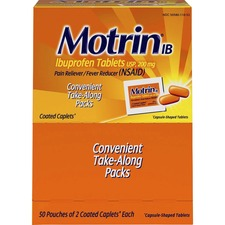 Motrin Ibuprofen Pain Reliever - For Headache, Muscular Pain, Backache, Toothache, Arthritis, Common Cold, Menstrual Cramp, Fever - 50 / Box - 2