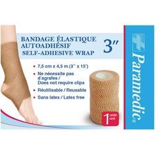 "Paramedic Elastic Self-adhesive Bandage 3'' - 3"" (76.20 mm) x 15 ft (4572 mm) - 1Each - Rubber"