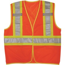 """Viking Open Road """"BTE"""" Vest - Recommended for: School, Construction - Large/Extra Large Size - Hook & Loop Closure - Polyester Mesh - Orange - 1 Each"""