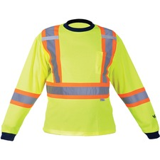 Viking Safety Cotton Lined Long Sleeve Shirt - Recommended for: Outdoor, Warehouse - Large Size - Ultraviolet Protection - Cotton, Polyester - Green - 1 Each