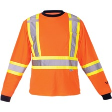 Viking Safety Cotton Lined Long Sleeve Shirt - Recommended for: Outdoor, Warehouse - Large Size - Ultraviolet Protection - Cotton, Polyester - Orange - 1 Each