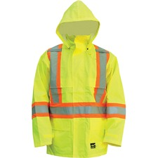 Viking Open Road 150D Jacket - Recommended for: Construction - Large Size - Rain Protection - Polyester, Mesh, Corduroy Collar - Green - 1 Each