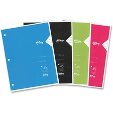 """Hilroy Project Book - 40 Sheets - Wide Ruled - 3 Hole(s) - 20 lb Basis Weight - 8 3/8"""" x 10 7/8"""" - Assorted Cover - Card Stock Cover - Heavy Duty Cover, Punched, Label - 1Each"""