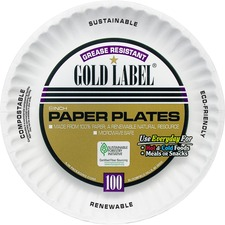 AJM CP9GOEWH AJM Packaging Gold Label Paper Plates AJMCP9GOEWH