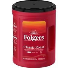 Folgers® Classic Roast Ground Coffee Ground - Regular - Arabica, Robusta - Classic/Medium - 48 oz - 1 Each