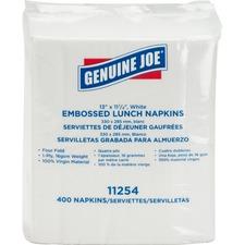 "Genuine Joe 1-ply Embossed Lunch Napkins - 1 Ply - Quarter-fold - 13"" x 11.3"" - White - Embossed, Versatile, Soft - For Lunch - 400 Per Pack - 400 / Pack"