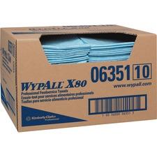 KCC 06351 Kimberly-Clark WypAll X80 Blue Foodservice Towels KCC06351