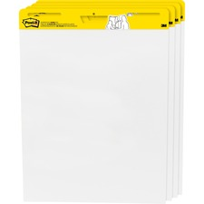 "Post-it® Plain Sheet Easel Pad - 25 Sheets - 50 Pages - 25"" x 30"" - White Paper - Self-stick, Resist Bleed-through, Super Sticky, Sturdy Back, Built-in Carry Handle, Slot Perforated, Adhesive Backing - 4 / Pack"