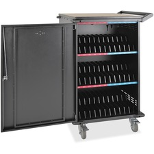 """Tripp Lite 36-Device AC Charging Station Cart for Chromebooks and Laptops, Black - Reversible Handle - Wood, Steel - 28"""" Width x 26"""" Depth x 42.3"""" Height - Black - For 36 Devices"""