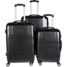 "bugatti Travel/Luggage Case (Roller) Travel Essential - Black - Impact Resistant - ABS Plastic Shell, Polycarbonate Shell - Checked - Checkpoint Friendly - Telescoping Handle, Hand Carry - 3 x Pieces per Set - 28"" (711.20 mm) Height x 12"" (304.80 mm) Width x 20"" (508 mm) Depth - 1 Pack"