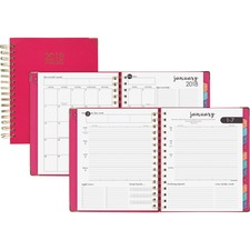 AAG609980527 - At-A-Glance Pink Hardcover Wkly/Mthly Planner