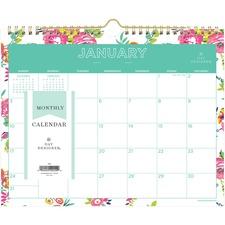 BLS 103629 Blue Sky Day Designer White Floral Wall Calendar BLS103629