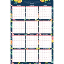 BLS 103632 Blue Sky Day Designer Navy Floral Yearly Planner BLS103632