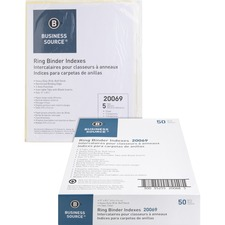 BSN20069BX - Business Source Buff Stock Ring Binder Indexes