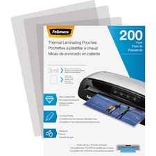 """Fellowes Thermal Laminating Pouches - Letter, 3 mil, 200 pack - Sheet Size Supported: Letter 8.50"""" (215.90 mm) Width x 11"""" (279.40 mm) Length - Laminating Pouch/Sheet Size: 9"""" Width3 mil Thickness - Durable - Clear - 200 / Pack"""