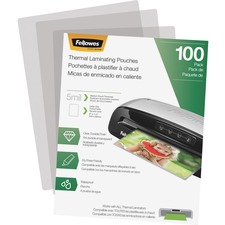 """Fellowes Thermal Laminating Pouches - Letter, 5 mil, 100 pack - Sheet Size Supported: Letter 8.50"""" Width x 11"""" Length - Laminating Pouch/Sheet Size: 9"""" Width5 mil Thickness - Glossy - for Document - Durable, Photo-safe, Erasable, Water Proof - Clear - 100 / Pack"""