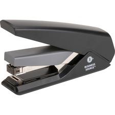 "Business Source Full Strip Flat-Clinch Stapler - 30 Sheets Capacity - 210 Staple Capacity - Full Strip - 1/4"" Staple Size - Black"