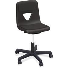 Lorell Classroom Adjustable Height Padded Mobile Task Chair - 5-star Base - Black - Polypropylene - 1 Each