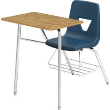 "Lorell Rectangular Medium Oak Top Student Combo Desks - Medium Oak Rectangle, High Pressure Laminate (HPL) Top - Four Leg Base - 4 Legs - 24"" Table Top Width x 18"" Table Top Depth - 31"" Height - Navy - Polypropylene"