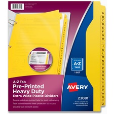 AVE23081 - Avery® Heavy-Duty Extra-Wide A-Z Plastic Industrial Dividers