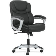 Sadie Mid-Back Executive Chair - Black SofThread Leather Seat - Black SofThread Leather Back - Mid Back - 5-star Base - 1 Each