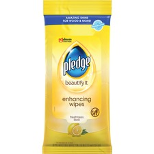SJN 624489PK SC Johnson Pledge Lemon Furniture Polish Wipes SJN624489PK
