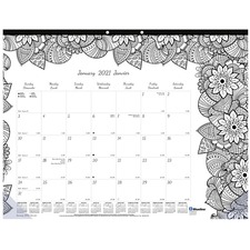 """Blueline Botanica Colouring Monthly Desk Pads - Monthly - January 2021 till December 2021 - 1 Month Single Page Layout - 17"""" x 22"""" Sheet Size - Reference Calendar - 1 Each"""