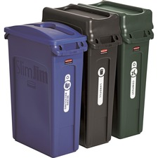 RCP 1998897 Rubbermaid Comm. Slim Jim 3-cntainr Recycling Set RCP1998897