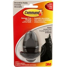 """Command Hook - 1 Medium Hook - 1.40 kg Capacity - 1.42"""" (36.09 mm) Length - for Indoor, Metal, Painted Surface, Drywall, Tile, Wood, Home, Dorm, Office, Apartment - Slate Gray - 1 / Pack"""