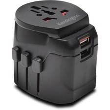 Kensington International Travel Adapter - Grounded (3-Prong) with Dual USB Ports - 3 Prong Male - 120 V AC, 230 V AC