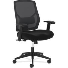 "HON Crio Mid-Back Task Chair - Fabric Black Seat - Black Back - 5-star Base - 25"" Width x 24"" Depth x 43"" Height"