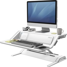"Fellowes Lotus DX Sit-Stand Workstation - 15.88 kg Load Capacity - 5.50"" (139.70 mm) Height x 32.75"" (831.85 mm) Width x 24.25"" (615.95 mm) Depth - White"