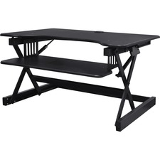 "Lorell Adjustable Desk Riser Plus - 40 lb Load Capacity - 32"" Width x 20.5"" Depth - Desktop - Black"