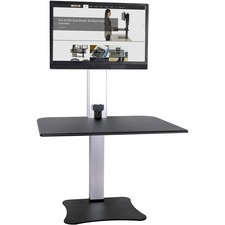 "Victor High Rise Electric Single Monitor Standing Desk Workstation - Supports One Monitor of Any Size Up yo 25 lbs - 0"" to 20"" Height x 28"" Width x 23"" Depth - One-Touch Electric, Standing Desk, Sit-Stand Desk, Ergonomic Workstation, Desk Converter, Height-Adjustable Table - No Clamping or Attachment - Wood, Steel, Aluminum - Black, Aluminum - VESA Mounting Holes Required"