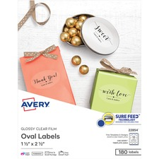 AVE 22854 Avery Easy Peel Glossy Clear Labels AVE22854