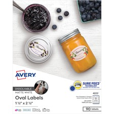 AVE 4223 Avery Oval Dissolvable Labels AVE4223